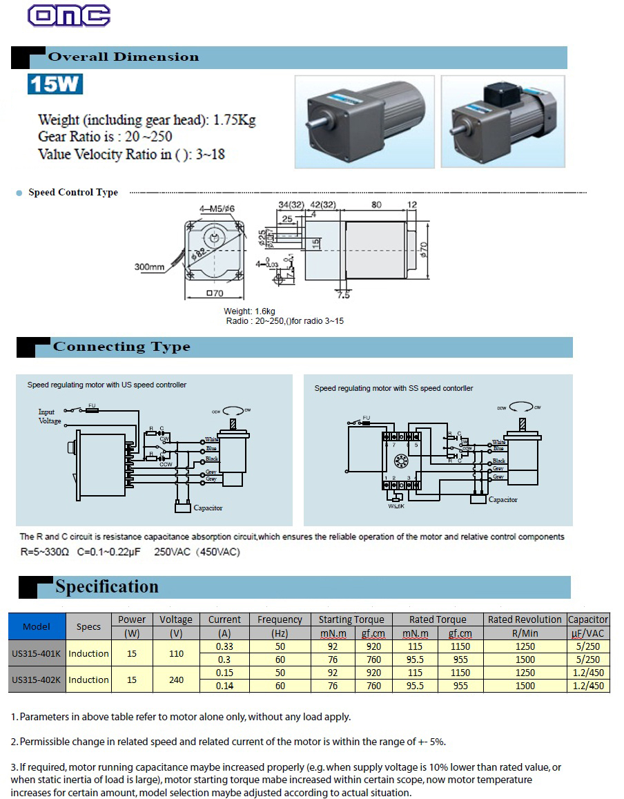 US315-40K- Malaysia Automobile Products | AC Gear Motor | Stepping ...